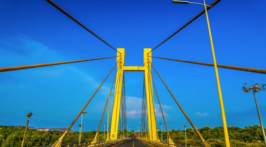 Mandovi Bridge (Cable Stayed Bridge), Aldona, Bardez, North Goa, Goa, India
