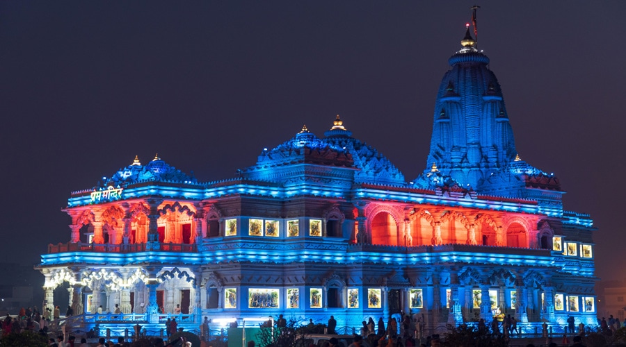 Prem Mandir at Night, Vrindavan, Uttar Pradesh, India, Asia